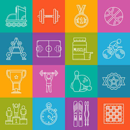 gainer: Sports and activities lineart minimal vector iconset on multicolor checkered texture