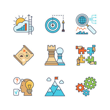Vector minimal lineart flat business iconset