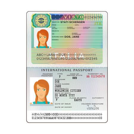 イタリアのビザでベクトル国際オープン パスポート