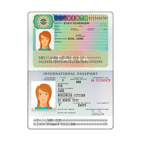 Vector international open passport with Italy visa Stok Fotoğraf - 79586223
