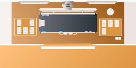 school classroom: Vector middle school classroom interior empty scene in flat style Illustration