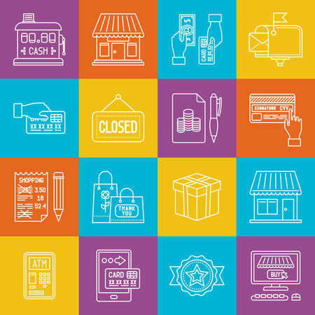 consumerism: Shopping and consumerism lineart minimal vector iconset on multicolor checkered texture Illustration
