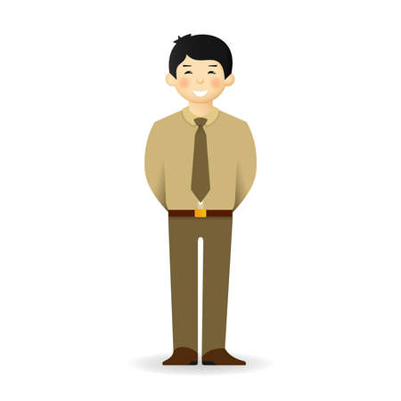 skin tones: Cheeky asian man in business suit posing. Standing with hands behind.