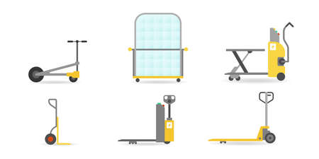 Vector pallet jacks and transport carts set in flat style