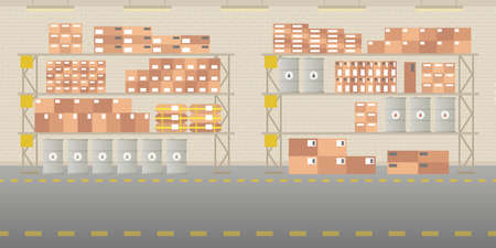 storage box: Vector warehouse hangar interior empty scene in flat style