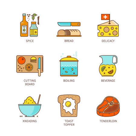 topper: Vector minimal lineart flat cooking iconset Illustration