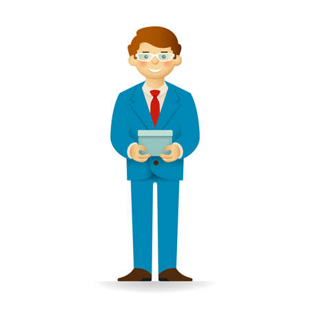 skin tones: Cheeky caucasian man in business suit posing. Standing and holding box. Illustration