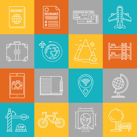 poi: Travel and tourism lineart minimal vector iconset on multicolor checkered texture