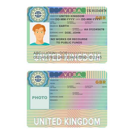 bd6b358b7 United Kingdom or England visa passport sticker templates. Illustration