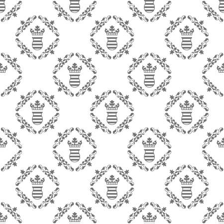 Old fashioned royal seamless texture with crown and flowers