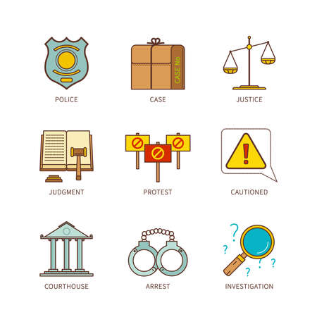 arrest: Vector minimal lineart flat justice iconset