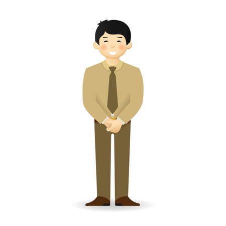 japanese ethnicity: Cheeky asian man in business suit posing. Closed posture. Illustration