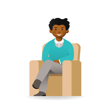 skin tones: Cheeky african man in sweater and shirt posing. Sitting in chair.