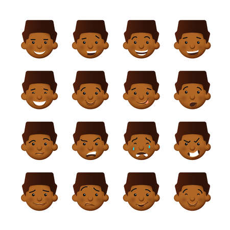 African men with rosy cheeks. Vector avatars and emoticons set. Illustration