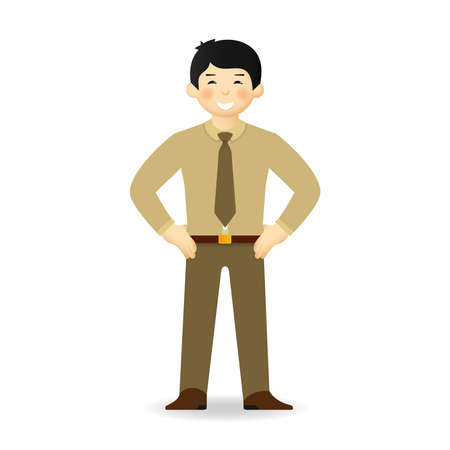 Cheeky asian man in sweater and shirt posing. Bossy gesture. Illustration