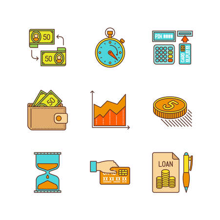 pouch: Minimal linear flat business or finance icon set. Illustration