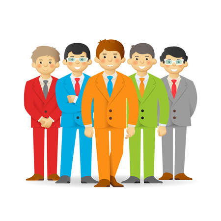 skin tones: Business team, cheeky cartoon men in suits.