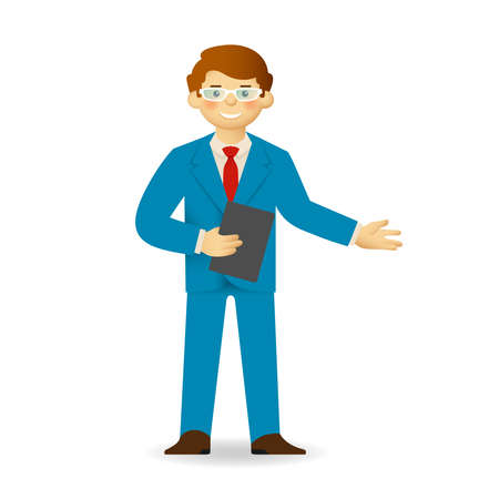 skin tones: Cheeky caucasian man in business suit posing. Pointing gesture. Illustration