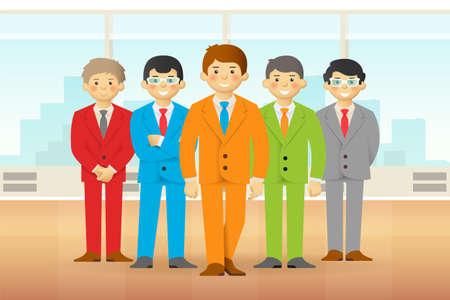 skin tones: Business team in office, cheeky cartoon men in suits. Vector.