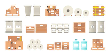 paint can: Warehouse packaging types vector set in flat style