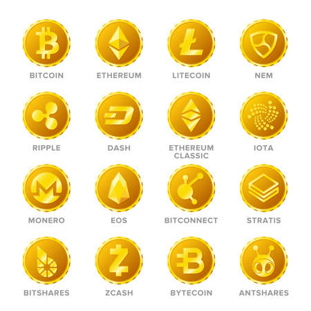 Main cryptocurrency coin signs vector set in flat style Illustration