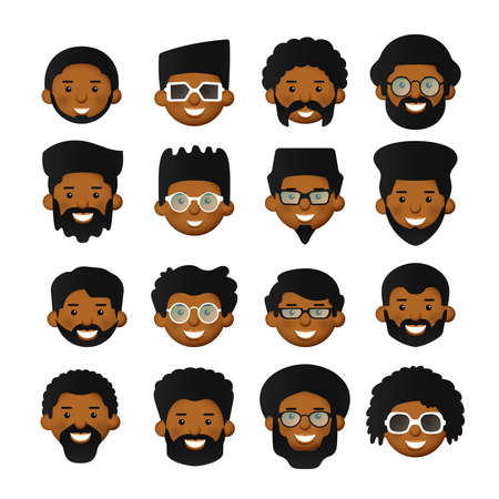 Vector african men head avatar iconset with beards, mustaches, glasses and rosy cheeks