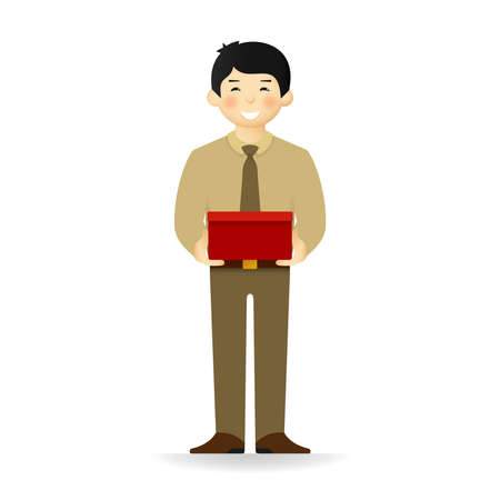 cheeky: Vector cheeky asian man in business suit posing. Standing and holding wide box.