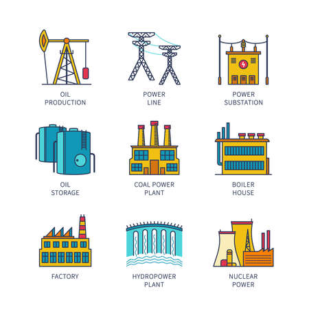 Lineart flat industrial icon set.