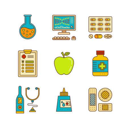 bactericidal: Line art flat healthcare and medicine icon set.