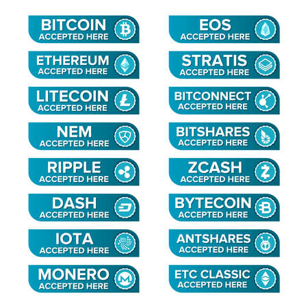 Main crypto currency types payment set  transparent.