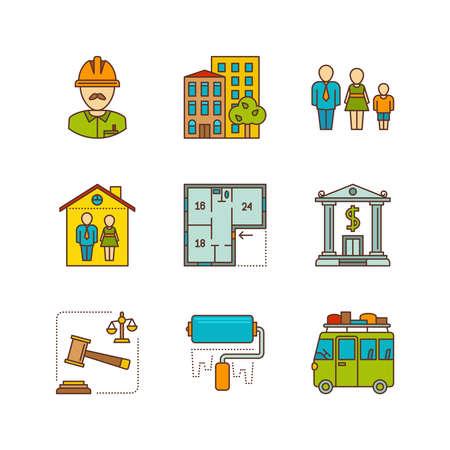 Linear flat real estate icon set.