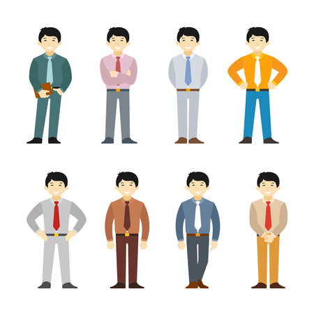waistline: Cartoon asian man in business suit set flat style. Different poses and clothes.