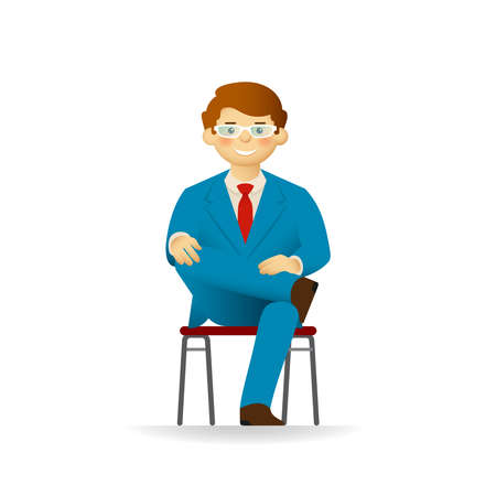 Vector cheeky caucasian man in business suit posing. Sitting on chair on ones foot.