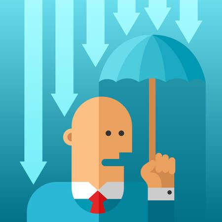 insolación: Business risks avoidance vector concept in flat style