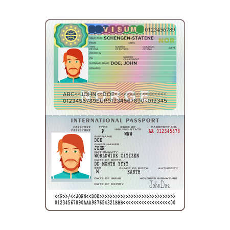A vector international of open passport on white background.