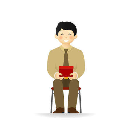 A vector of cheeky Asian man in business suit posing. Sitting and holding box.