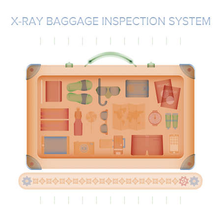 X-ray baggage inspection vector concept in flat style.