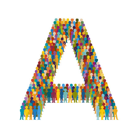 Crowd of people in form of capital letter A flat style