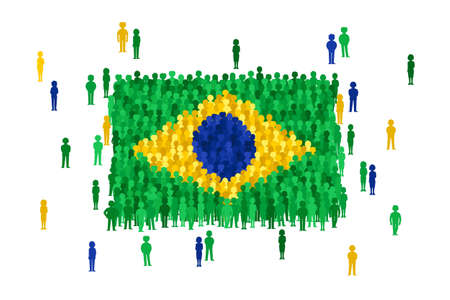 national women of color day: Vector Brazil state flag formed by crowd of cartoon people Illustration