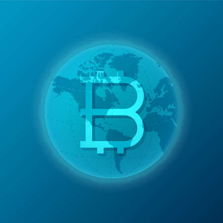 the appearance: Global bitcoin cryptocurrency appearance concept with world map Illustration