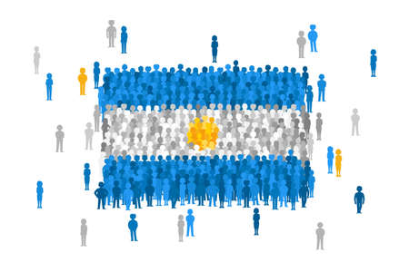 national women of color day: Vector Argentina state flag formed by crowd of cartoon people Illustration