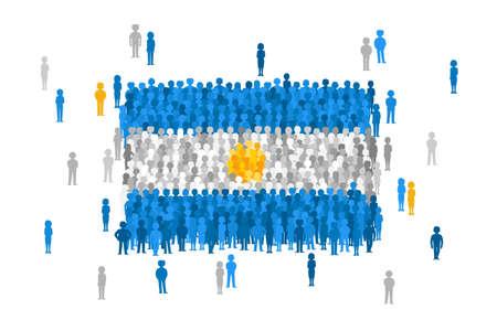 Vector bandera del estado de Argentina formada por multitud de personas de dibujos animados Foto de archivo - 88334610