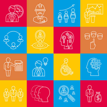 Human resources lineart minimal vector iconset on multicolor checkered texture