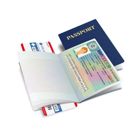 Vector international passport with United Kingdom visa