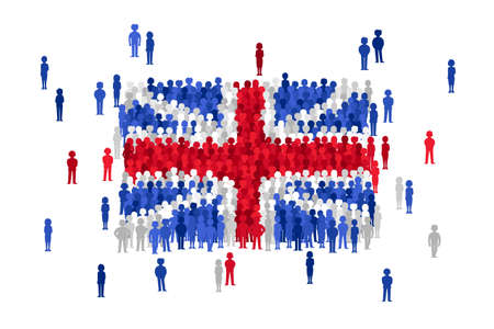 national women of color day: Vector United Kingdom state flag formed by crowd of cartoon people Illustration
