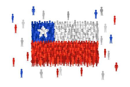 national women of color day: Vector Chile state flag formed by crowd of cartoon people