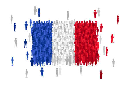 national women of color day: Vector France state flag formed by crowd of cartoon people