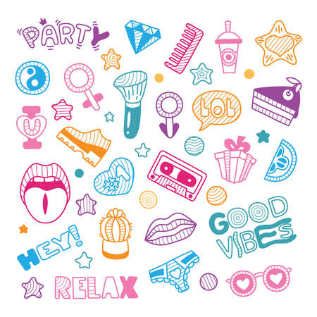Vector doodle girly party and celebration clipart lineart elements set