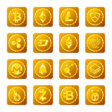 Main cryptocurrency signs set on transparent background