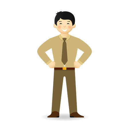 skin tones: Vector asian office worker character in flat style Illustration